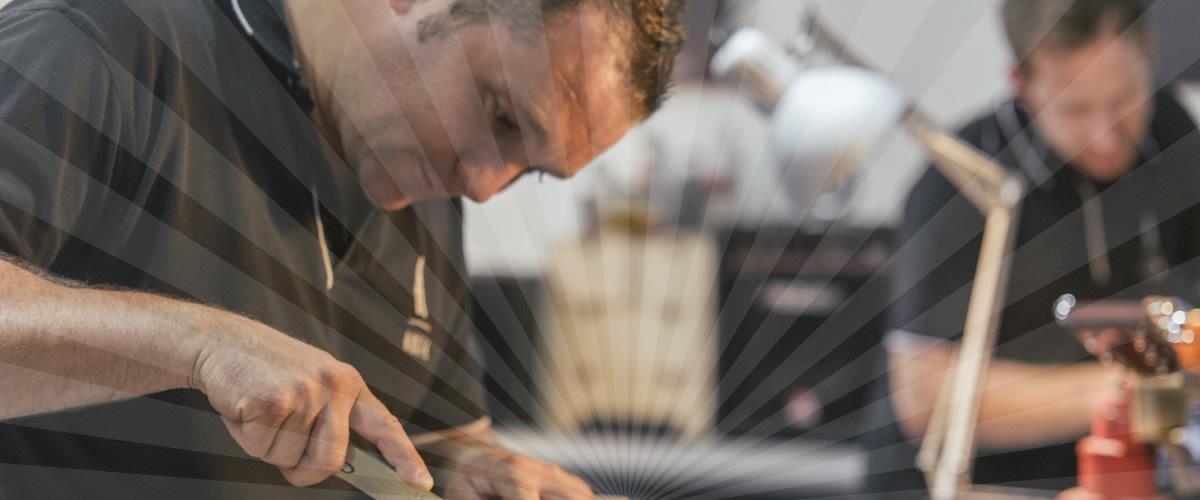 Rob Bowman working in Gordon Smith Guitars workshop