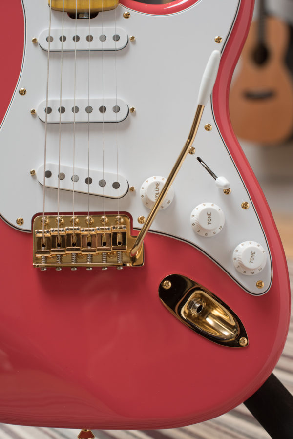 Salmon Pink Classic S electric guitar by Gordon Smith Guitars - close up