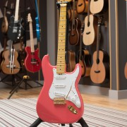 Salmon Pink Classic S electric guitar by Gordon Smith Guitars - in studio